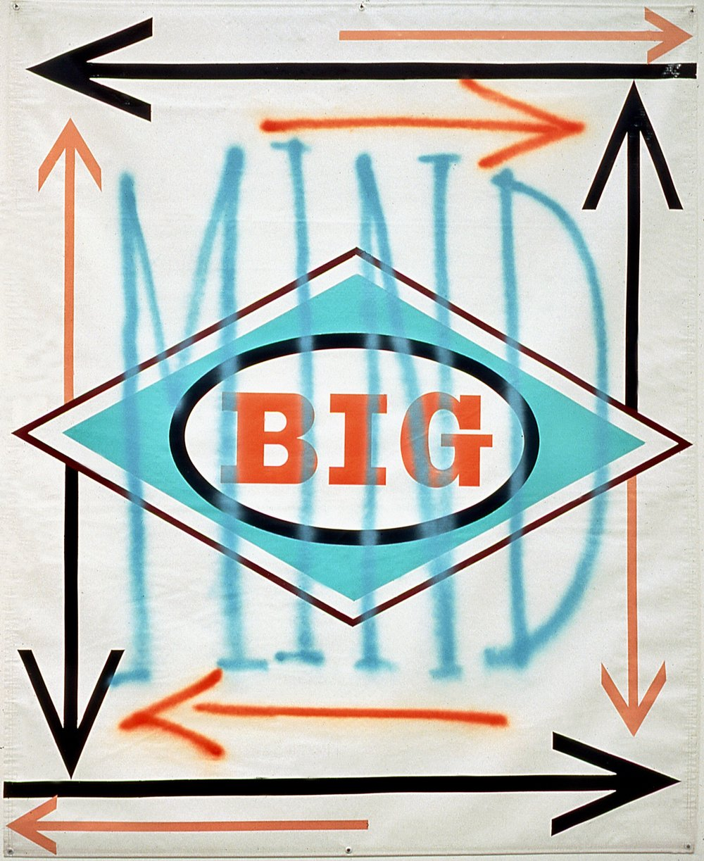 "Big Mind I,  1998  Enamel on vinyl  66"" x 54"""