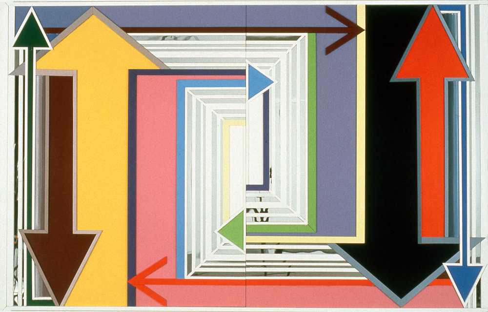 "Actual Practice,  1997  Acrylic, mirror, plexiglass on bas relief wood  60"" x 96"""