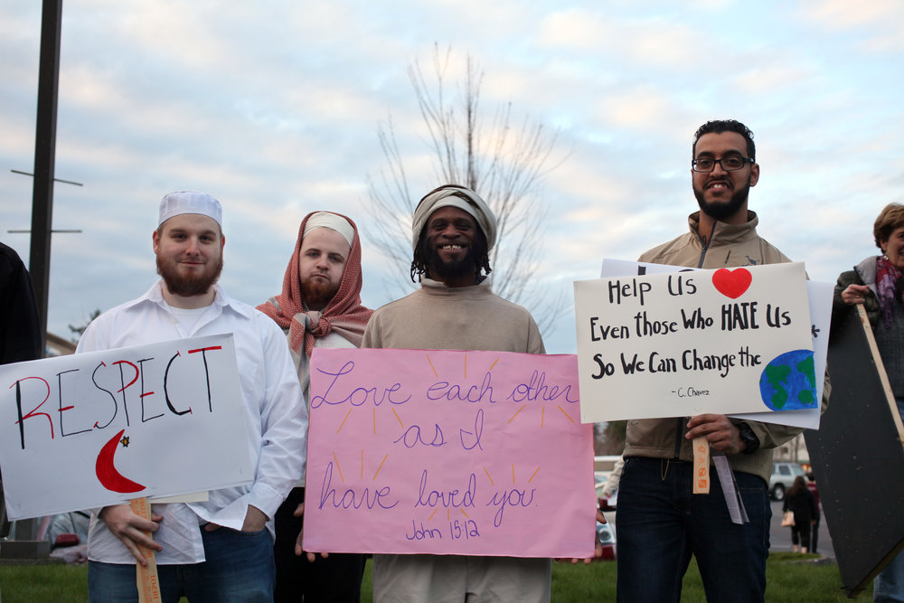 Muslim community members at a rally to show support of Islam in Gig Harbor - 3/13/17