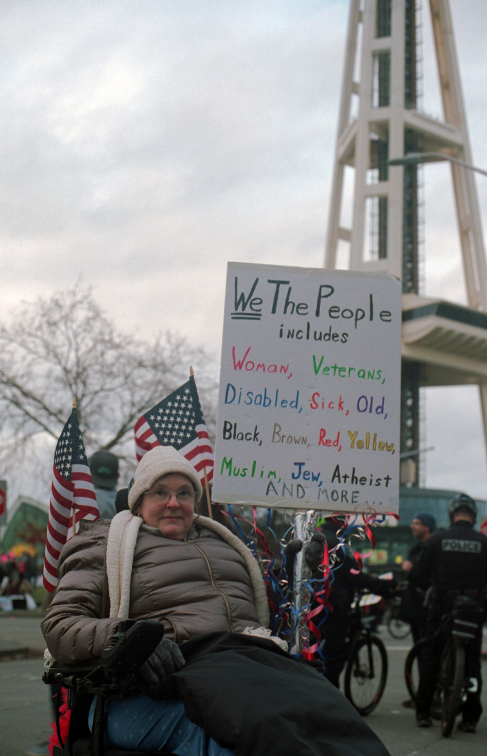 Woman at the Women's March in Seattle - 1/21/17