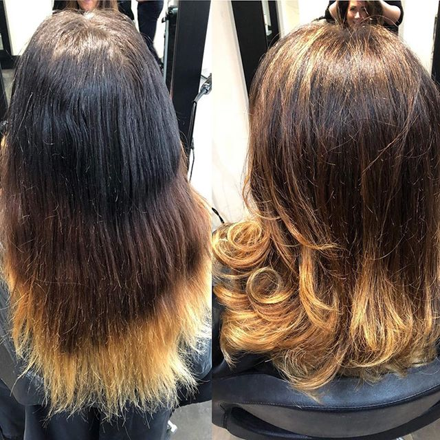 A GORGEOUS before and after transformation by our super talented @aimeejonesuk  #hairdressing #hairdresser #beforeandafter #balayage #healthyhair #curls #hair #haircut #localbusiness #transformation
