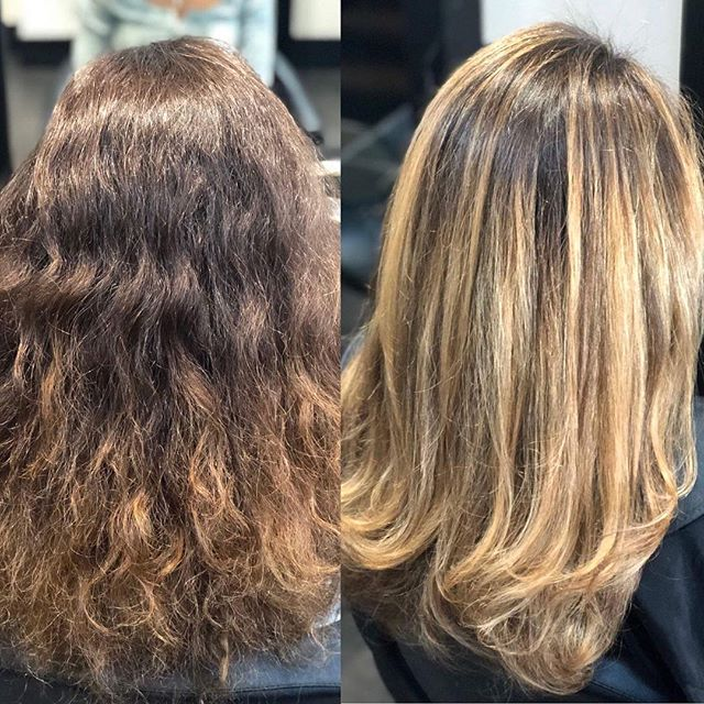 Before & After ~ a beautiful balayage by our colour expert @aimeejonesuk  #balayage #beforeandafter #curls #hairstyles #hairstyle #haircut #hairdye #dyedhair #hair #hairbyjones #photooftheday #instahair #instagood