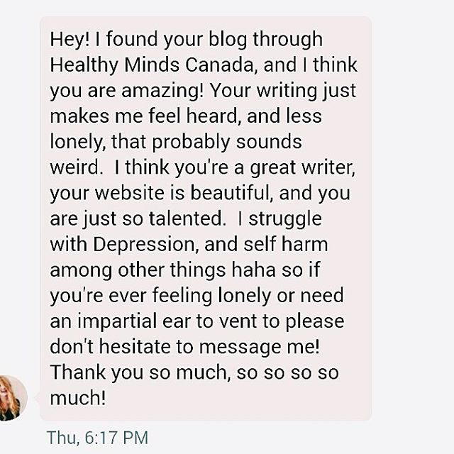 So grateful to have been writing for @healthymindscanada for the past few months and even more grateful for messages like this 💕