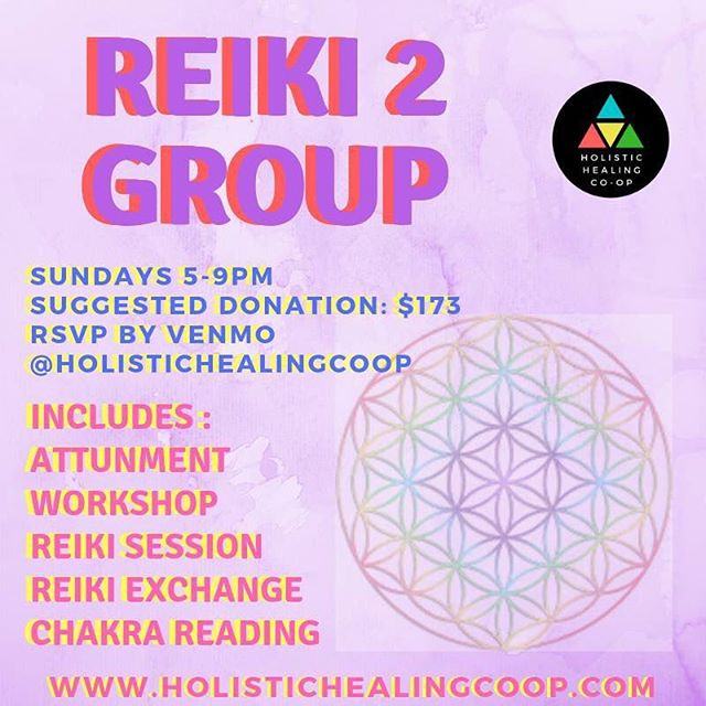 Reiki 2 Group Join us for a fun workshop, Sundays 5-9pm conveniently located near the 405 in West Los Angeles. Meet new people and to learn about Reiki!  The workshop is fun and informative and includes: Reiki 2 Workshop Reiki Healing & Sound Bath Chakra Reading Reiki 2 Attunement Reiki 2 Certificate Reiki Exchange  The workshop begins with socializing, tea, tarot, intuition game and workshop in our beautiful outdoor space followed by the Reiki sound bath, Reiki 2 Attunement and reiki exchange.  What to bring: Crystals Yoga Mat Comfortable Clothes Journal and Pen Water Snacks (Tips are welcome!) All ages welcome.  THE CLASSES ARE HELD CONVENIENTLY IN WEST LOS ANGELES. RSVP FOR THE ADDRESS. FEEL FREE TO CONTACT US WITH ANY QUESTIONS OR SPECIAL NEEDS.  PLEASE RSVP AT LEAST ONE DAY BEFORE THE EVENT TO ENSURE YOUR ATTENDANCE. PLEASE TEXT OR CALL TO RSVP THE DAY OF:  310-879-9988  ABOUT THE CURRICULUM  THIS IS A 1 DAY  REIKI 2 WORKSHOP  SUBJECTS COVERED -REIKI 2 ATTUNEMENT -HEALING WITH CRYSTALS -LONG DISTANCE HEALING -REIKI 2 SYMBOLS -POWER EXCERSIZES -INCREASED POWER AND FOCUS -GROUP HEALING -MANIFESTING WITH REIKI  SUGGESTED DONATION: $173  Reiki Master, Yogi & Founder of Holistic Healing Co-op, Rio Haynes is teaching this workshop. He has been a Reiki practitioner for 6 years and has worked with hundreds of students and patients at Holistic Healing Co-op and Rehabilitation Centers in LA. He is a skilled and experienced Reiki Master in the Usui Reiki Ryoho Gakkai lineage.  THE CLASSES ARE HELD CONVENIENTLY IN WEST LOS ANGELES. RSVP FOR THE ADDRESS. FEEL FREE TO CONTACT US WITH ANY QUESTIONS OR SPECIAL NEEDS.  PLEASE RSVP AT LEAST ONE DAY BEFORE THE EVENT TO ENSURE YOUR ATTENDANCE. PLEASE TEXT OR CALL TO RSVP THE DAY OF:  310-879-9988  #reiki #yoga #meditation #soundbath #soundhealing #alternativemedicine #crystalhealing  #breathwork #efttapping