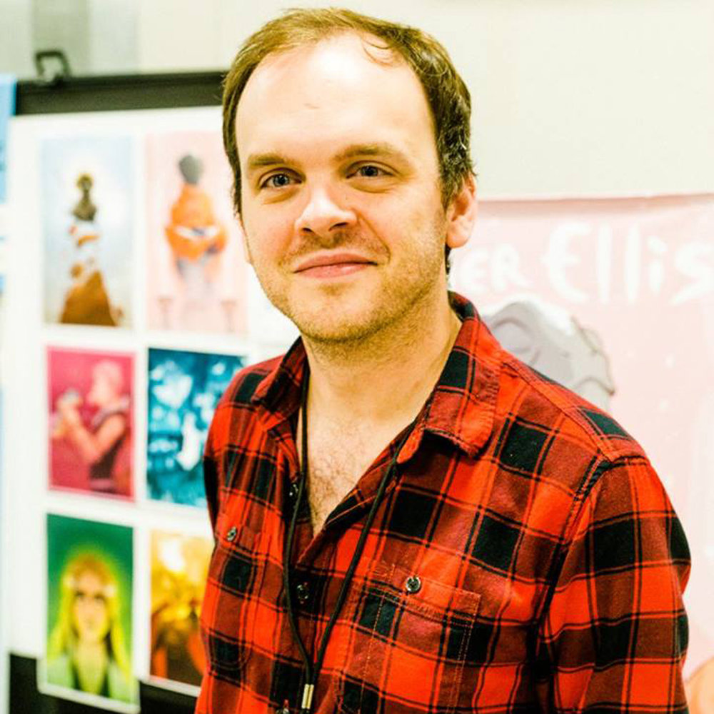 Tyler Ellis  |  @tyler_grayson_ellis   Author and Illustrator of Chimera  Chimera is a sci-fi, but it's also about family, regret, and the abuse of power, and it's also got a gay lead, which was important not only to me but also to my publisher ( @ComickerLLC ). The goal at Comicker is to push for a diverse body of work (lead characters who are ethnic, sexual, or gender minorities) in a field whose protagonists are traditionally straight white males.