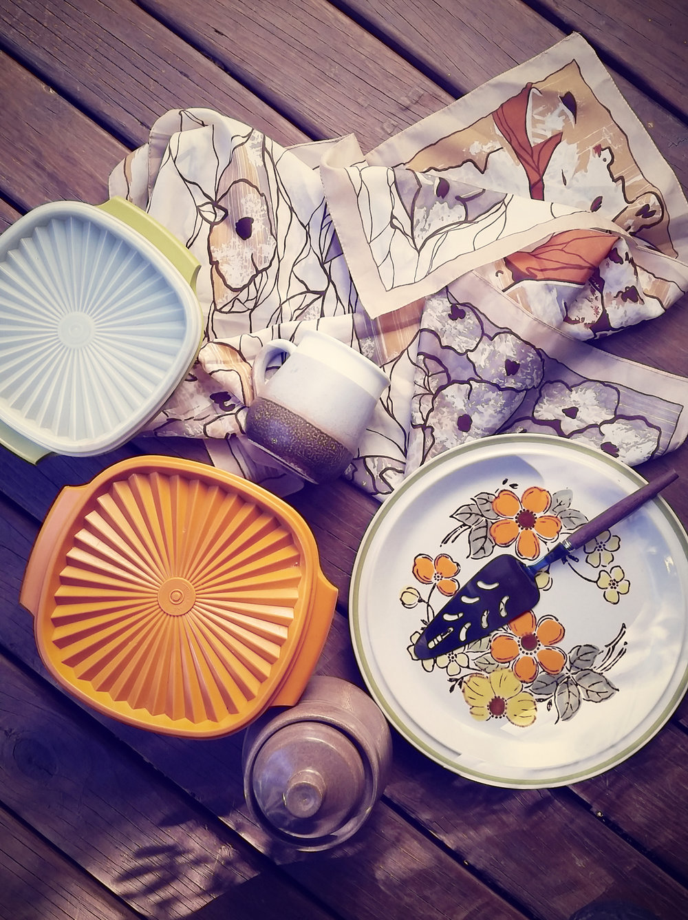 Seventies colour palette- vintage stoneware, pottery, textiles, tupperware.
