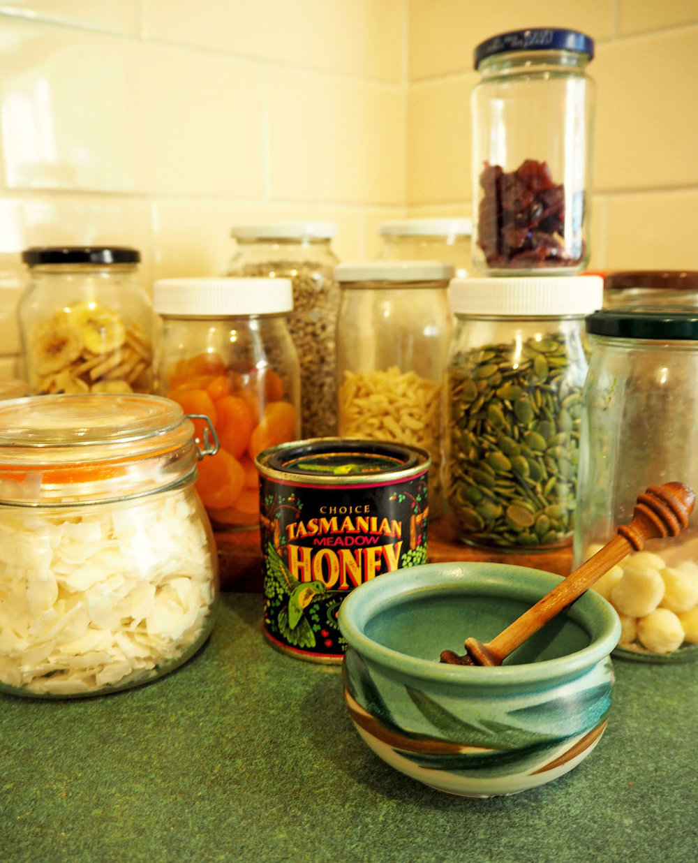 Gluten-free granola ingredients in jars