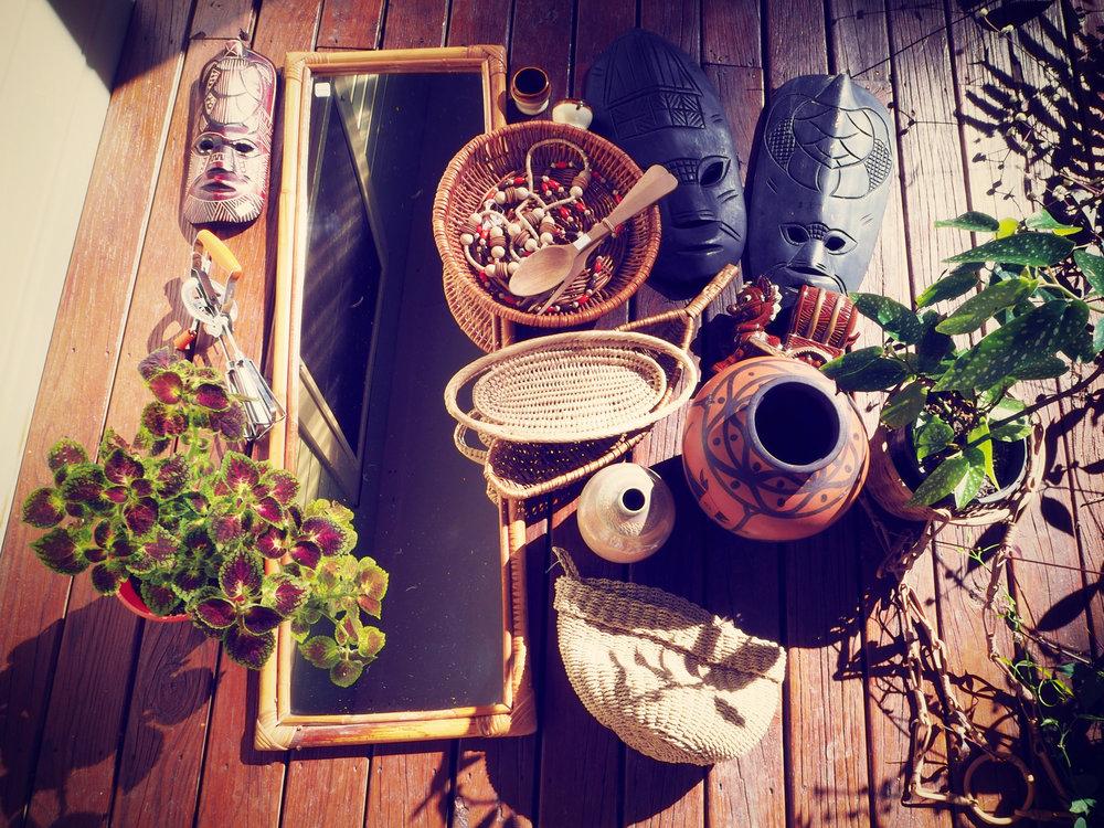 thrifted haul - baskets, mirror, jars