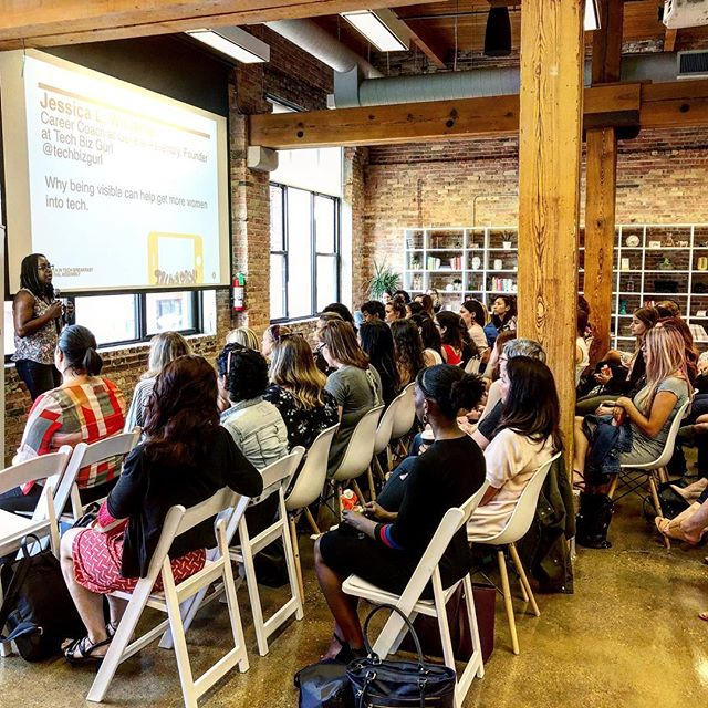 "When Women In Tech come together, we shift the paradigm. ""Why being visible can help get more women into tech."" - Jessica Williams, Career Coach at General Assembly. @ga_chicago @techbizgurl @evolveher . #thefutureisfeminine #insta_chicago #thisismycommunity #communityovercompetition #chicago #community #wakeup #buildingcommunity #chicagogram #pursuepretty #flashesofdelight #thatsdarling #livingcolorfully #thehappynow #darlingmovement #ladypreneur #womanentrepreneur  #girlboss #creativelyfound #creativelifehappylife #mindset #hustle #global_ladies"