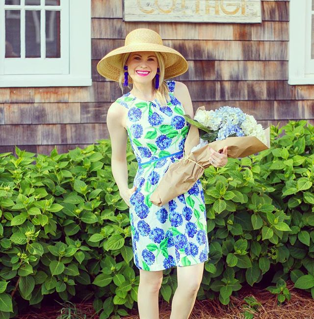 "swoon 💙 @teggyfrench hits the perfect floral note in our limited edition hydrangea dress!  code ""southerncharm"" for 15% off expires tonight."