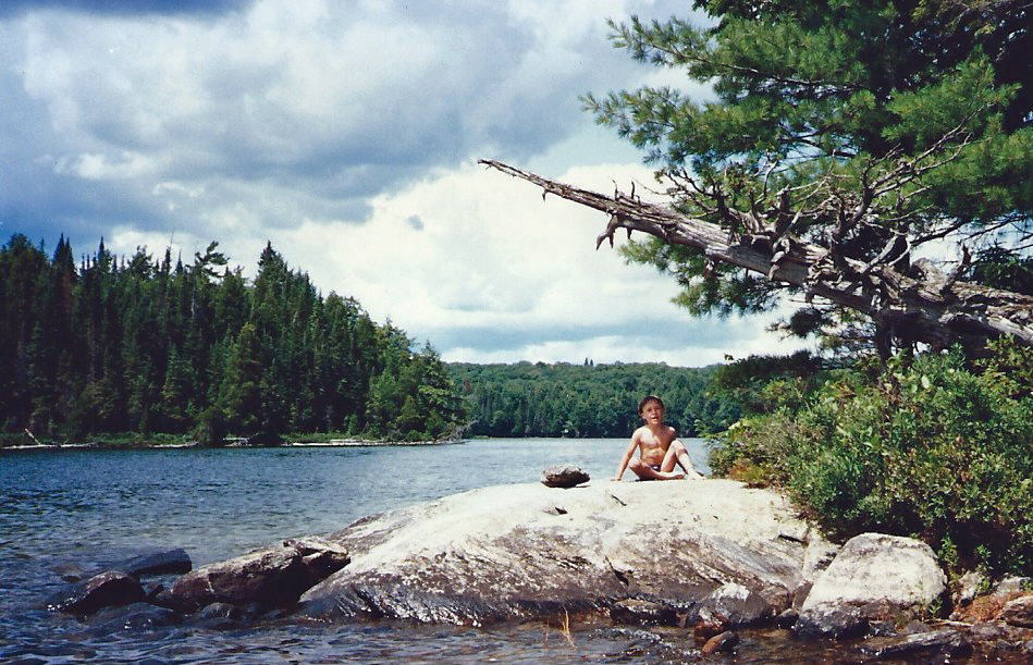 - This is our son in his favorite camping attire or what I refer to as his 'Mowgli' impersonation. There are several campsites near and on the island on Ralph Bice Lake. This is one of our favorites with the rock porch and a sandy landing spot.
