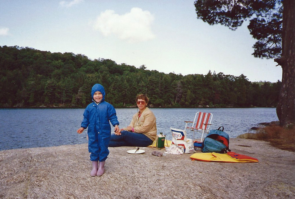 - This is our non Mowgli daughter in her favorite Algonquin Park attire enjoying a lunch break on David Lake with her mom Kristine.