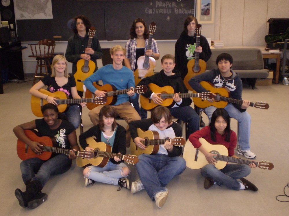 Nantucket High Schoolers with their guitars in 2009.