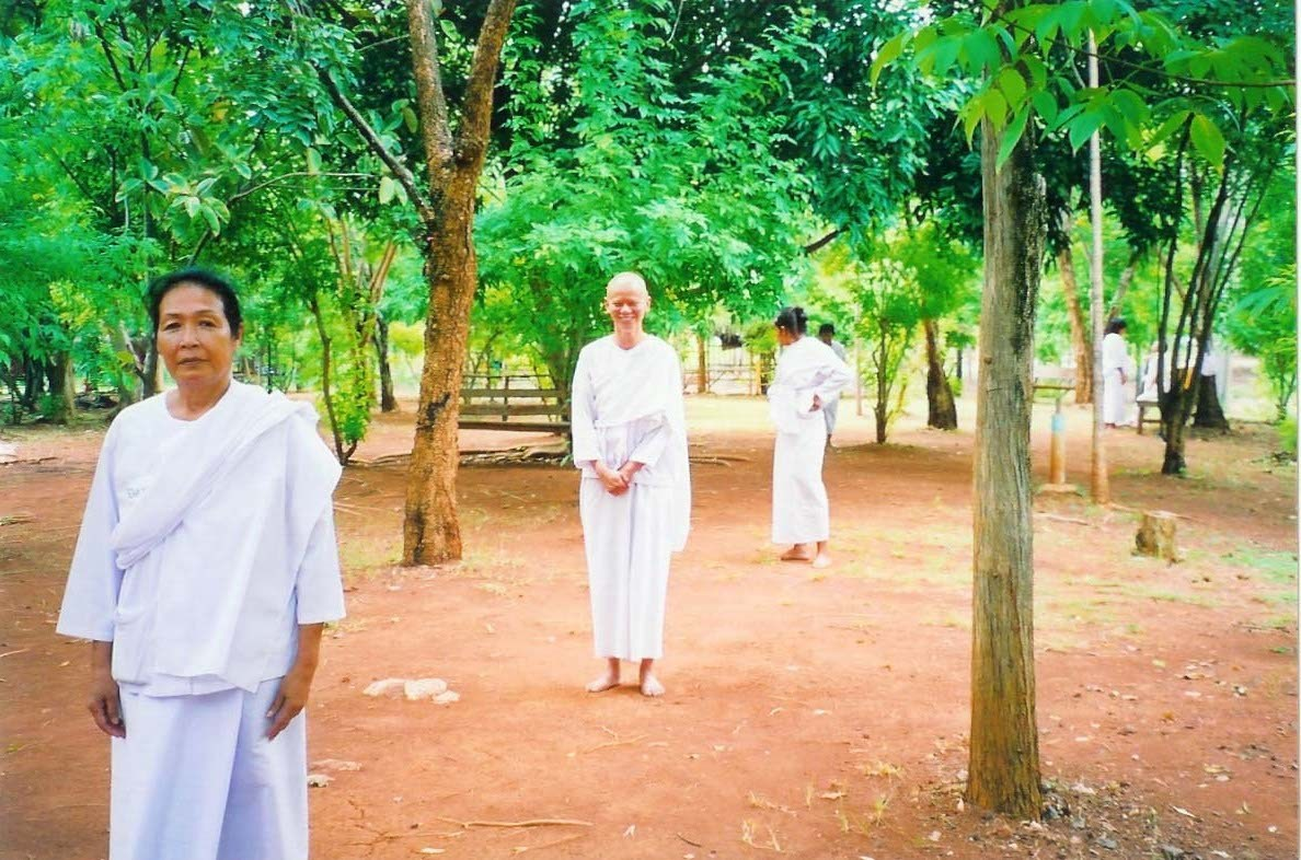 Walking meditation at 5-day retreat at Wat Pa Nanachat, Thailand