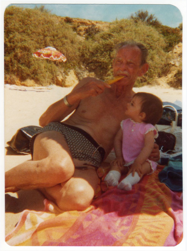Me and my Papa on the beach, circa 1981.