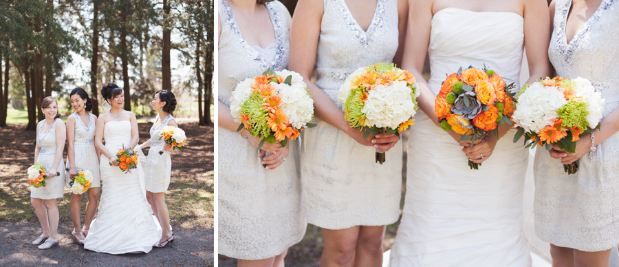 Bridesmaids flowers in Orange and Green