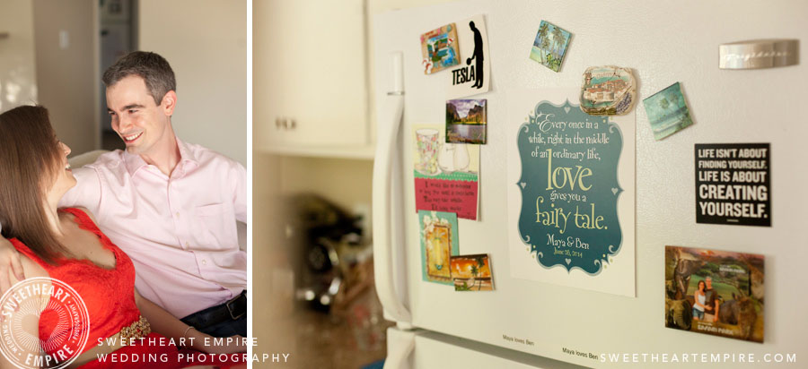 At home engagement photos fridge magnets
