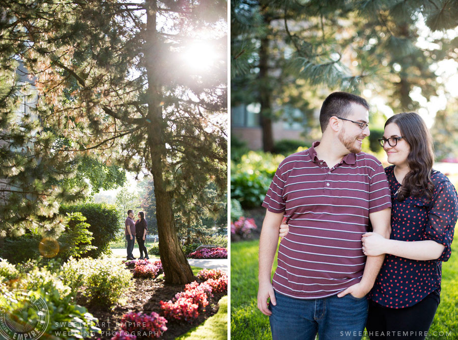 Sunny garden engagement photo