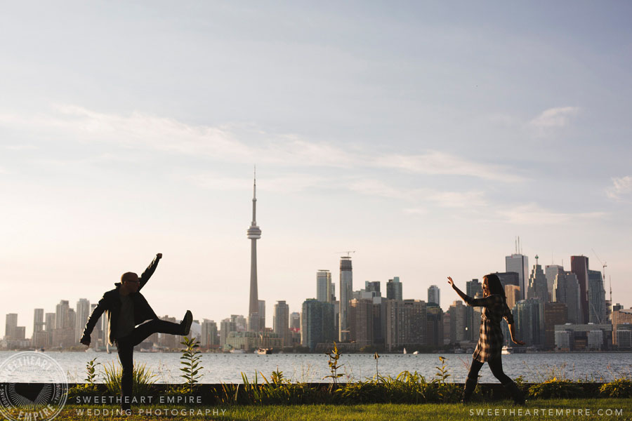 Toronto city skyline engagement photos