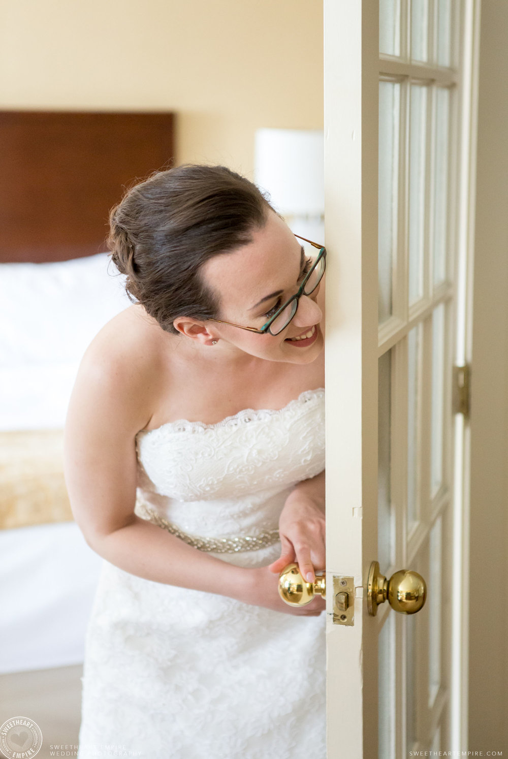 The bride is ready to see her father for the first time; Toronto Reference Library Wedding