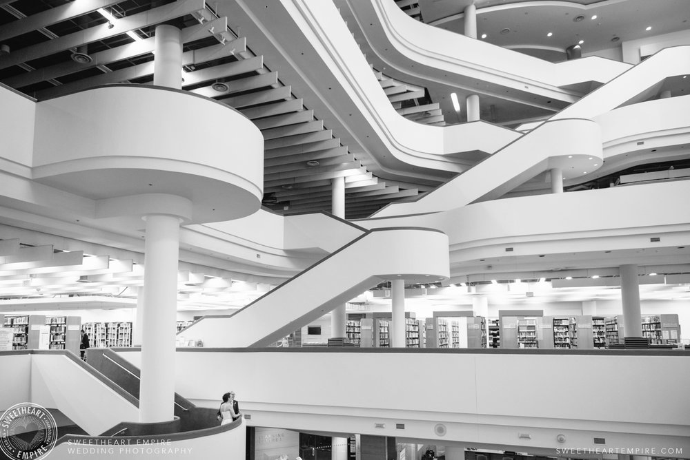 Bride and groom in the beautiful Toronto Reference Library