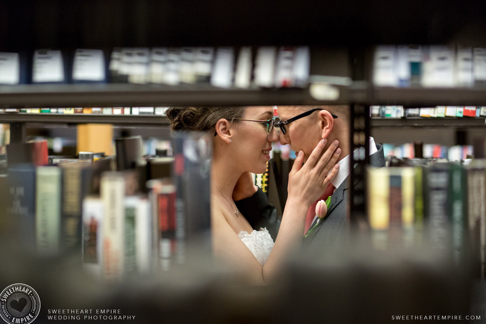 Bride and groom share a loving look; Toronto Reference Library Wedding