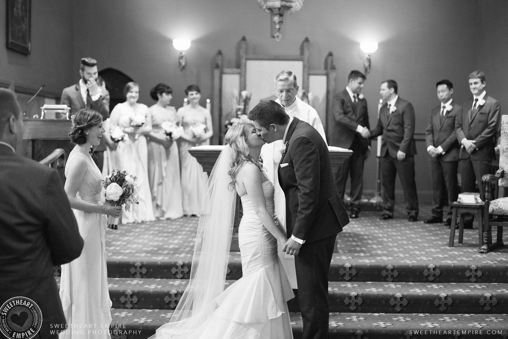Bride and groom kiss for the first time as husband and wife, Oakville Golf Club Wedding