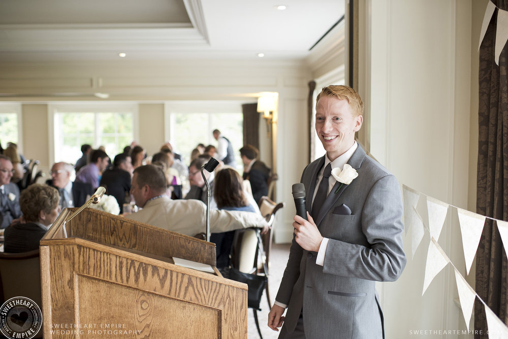 Best man giving speech during reception, Oakville Golf Club Wedding