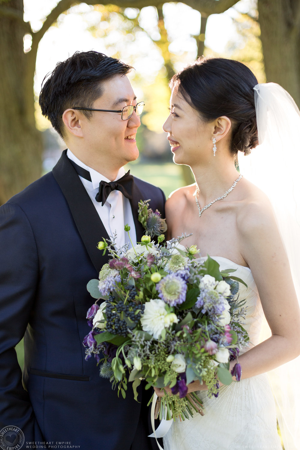 Bride and groom exchange a loving look, McLean House Wedding, Estates of Sunnybrook