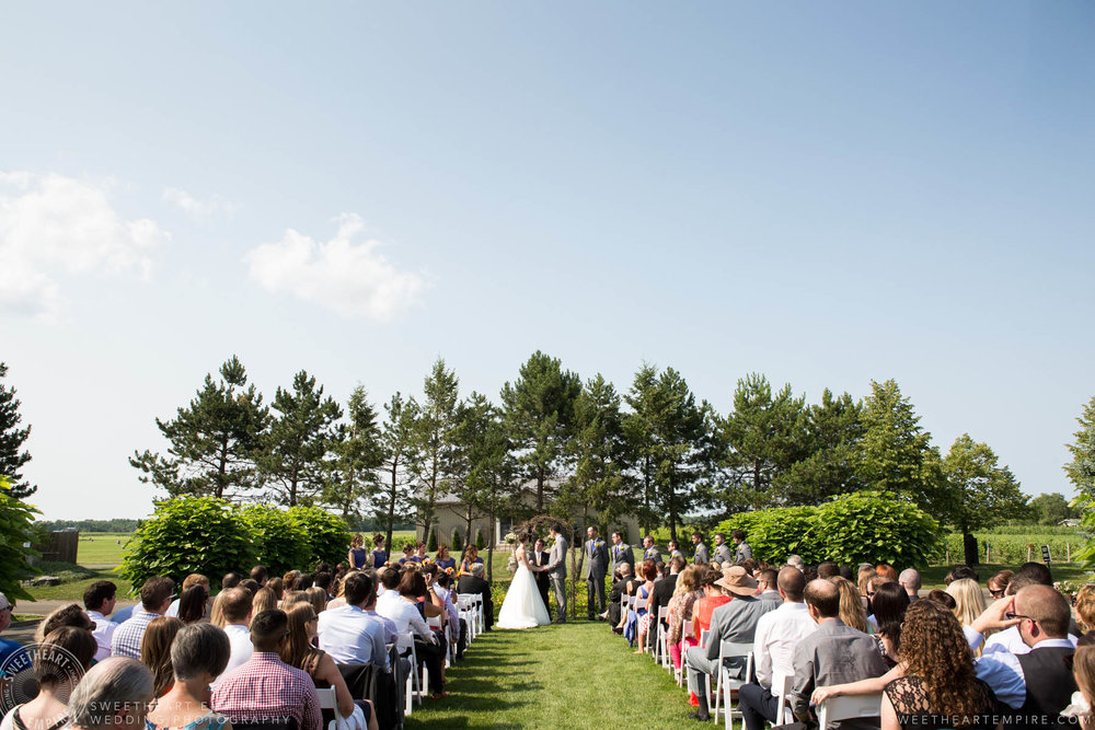 Beautiful outdoor marriage ceremony, Rockway Vineyard Wedding, Niagara
