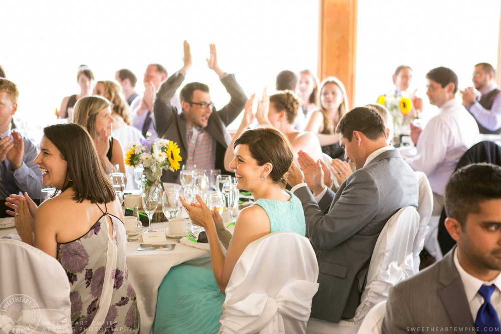 Happy guests at wedding reception, Rockway Vineyard Wedding, Niagara