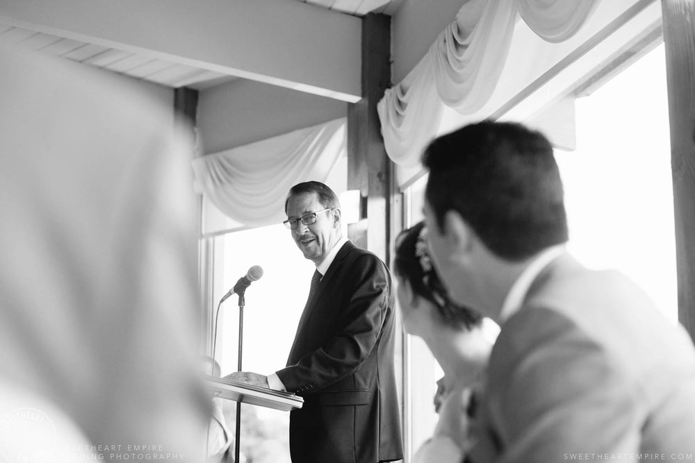 Bride and groom listening to speech, Rockway Vineyard Wedding, Niagara