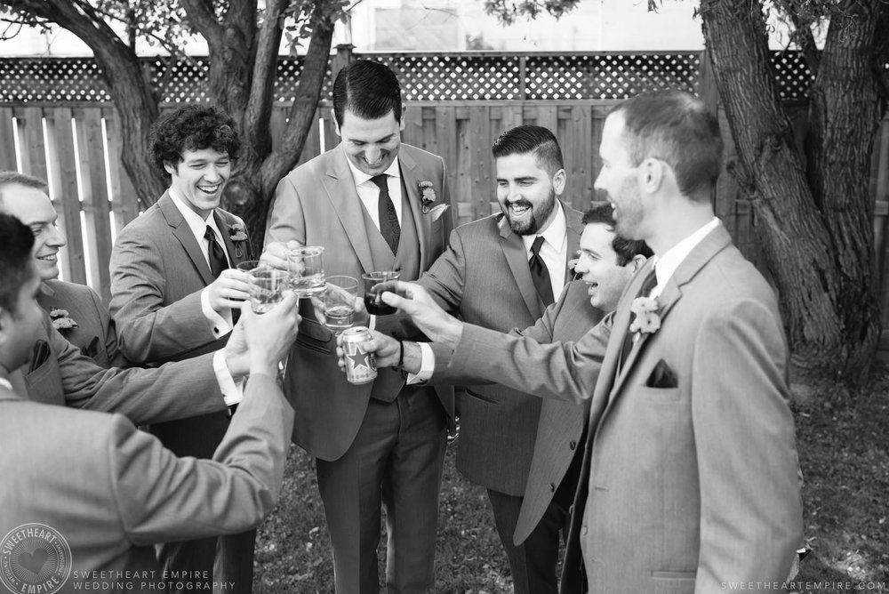 Groom making a toast with his groomsmen, Rockway Vineyards Wedding