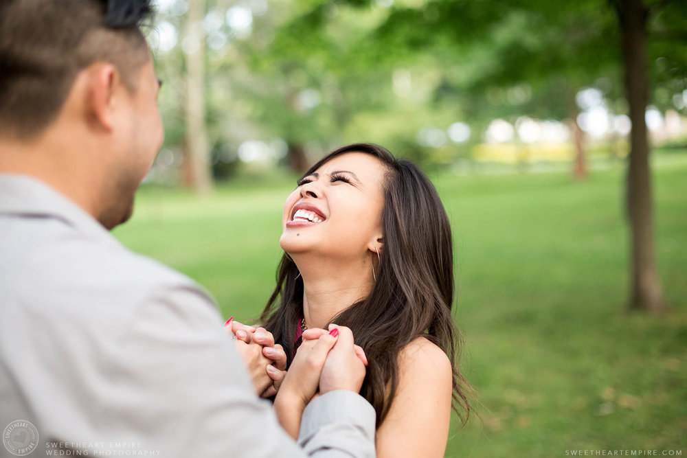 Bride to be laughing, Engagement Photos at Kew Gardens