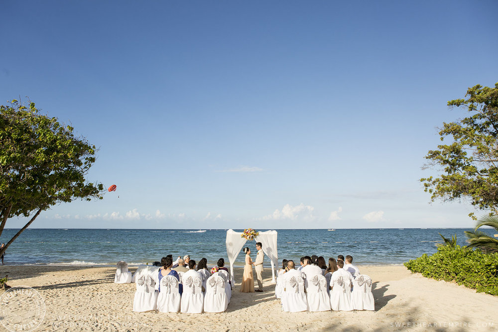 Beautiful beach wedding ceremony; Iberostar Grand Hotel Rose Hall, in Montego Bay, Jamaica