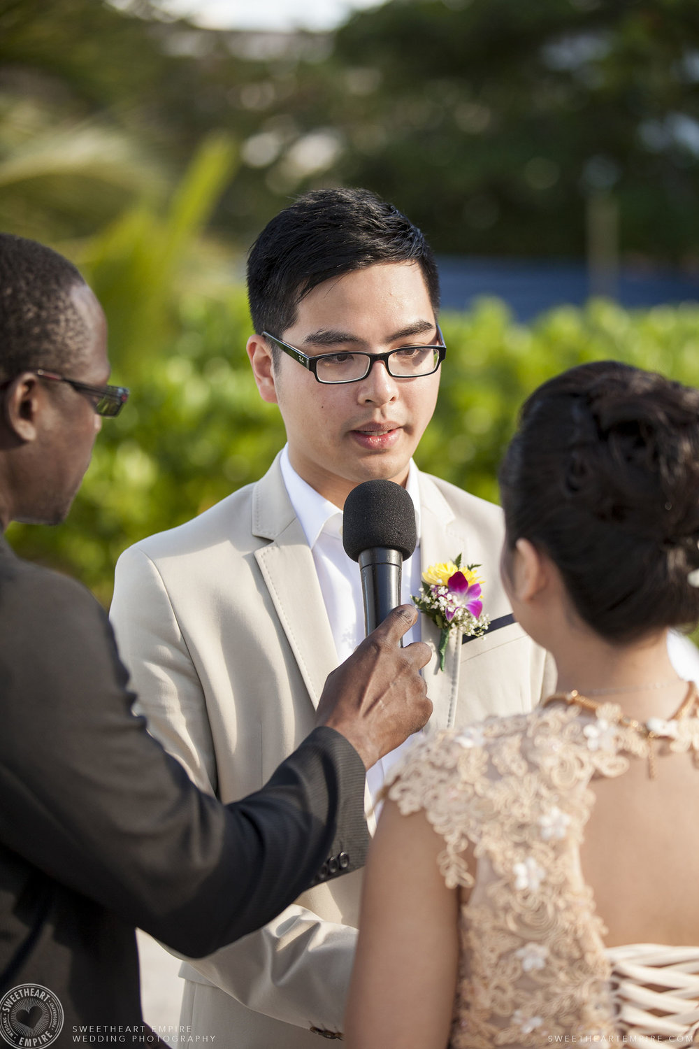 Groom saying his vows; Iberostar Grand Hotel Rose Hall, in Montego Bay, Jamaica