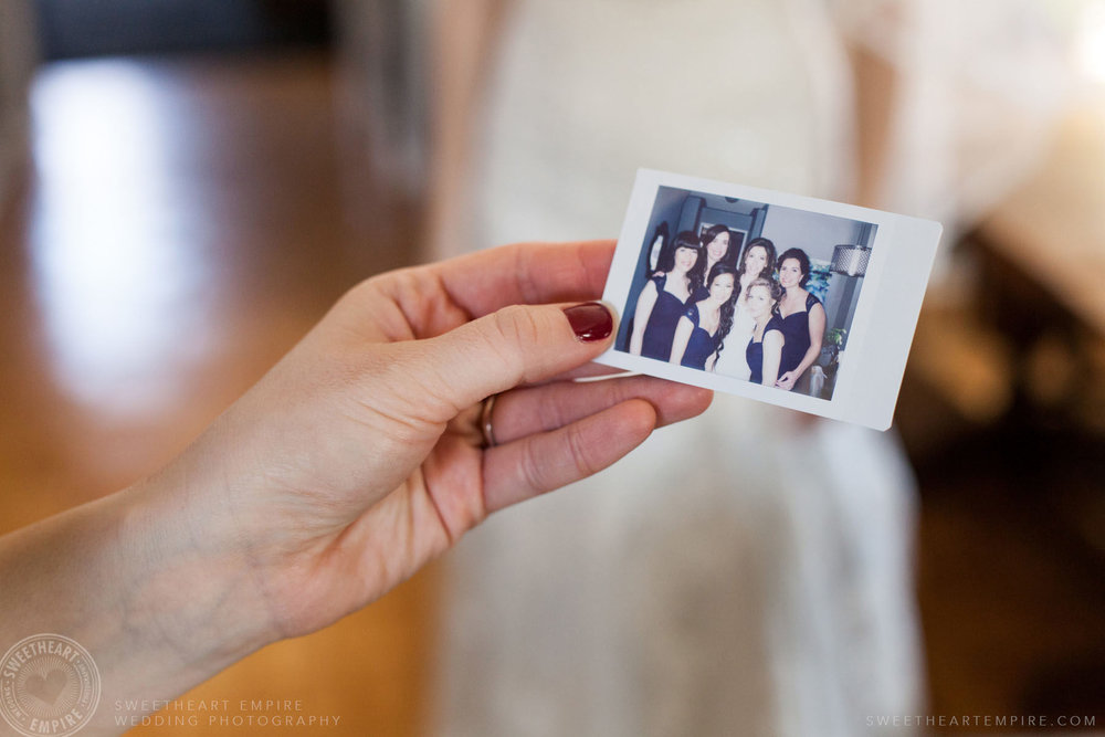 Polaroid of bride and her bridesmaid; Eagles Nest Golf Club Wedding Photos