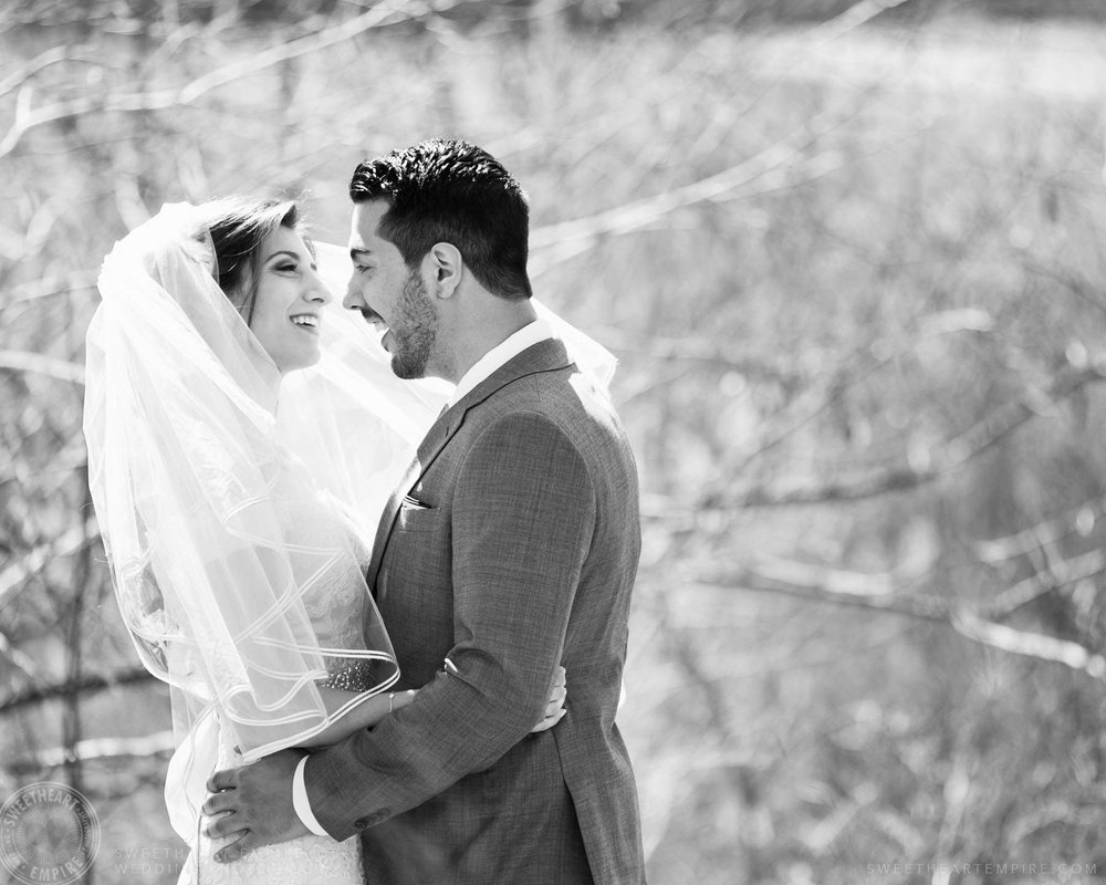 Bride and groom staring into each other's eyes; Eagles Nest Golf Club Wedding Photos