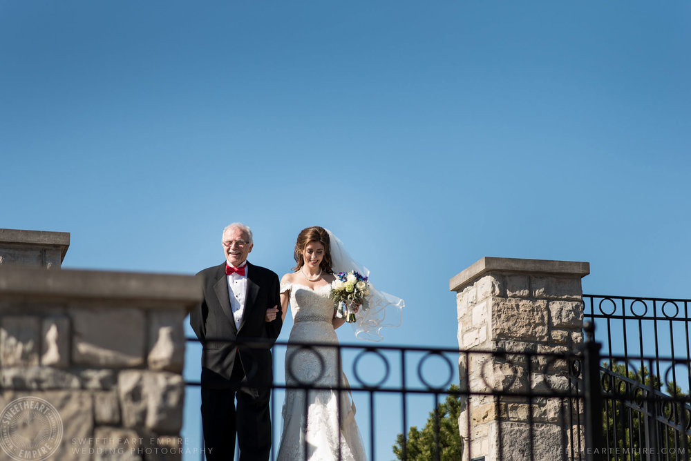 Bride about to walk down the aisle with her father; Eagles Nest Golf Club Wedding Photos