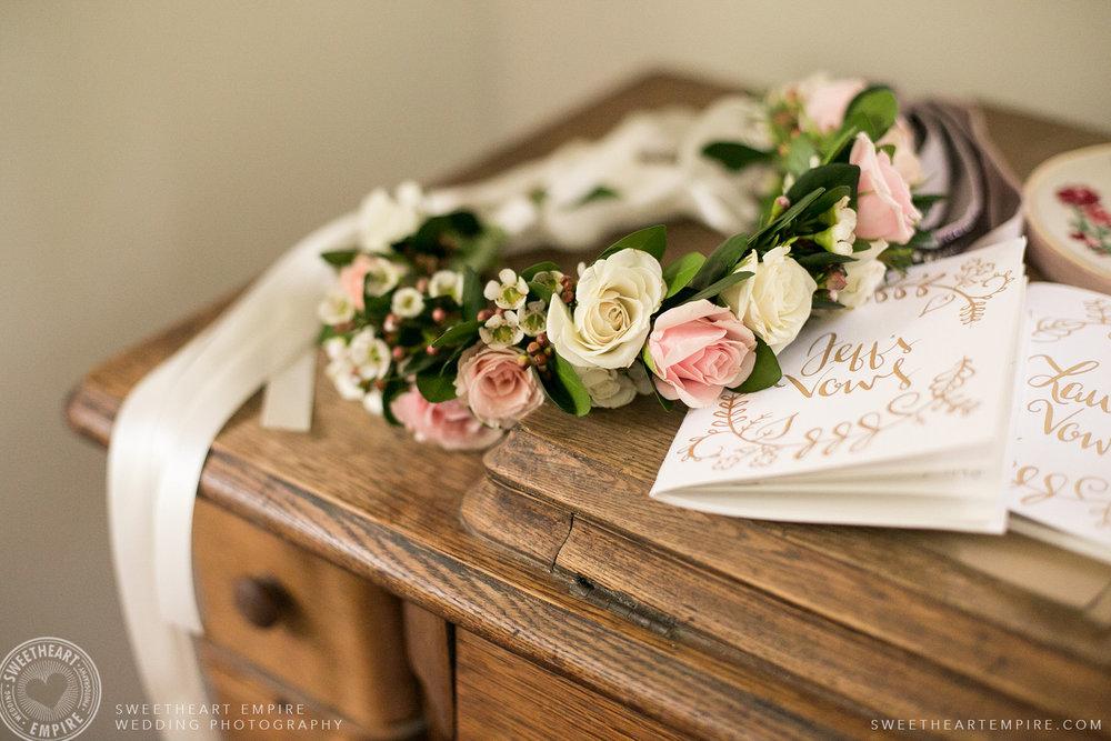 Bride's floral crown, Toronto Island Elopement