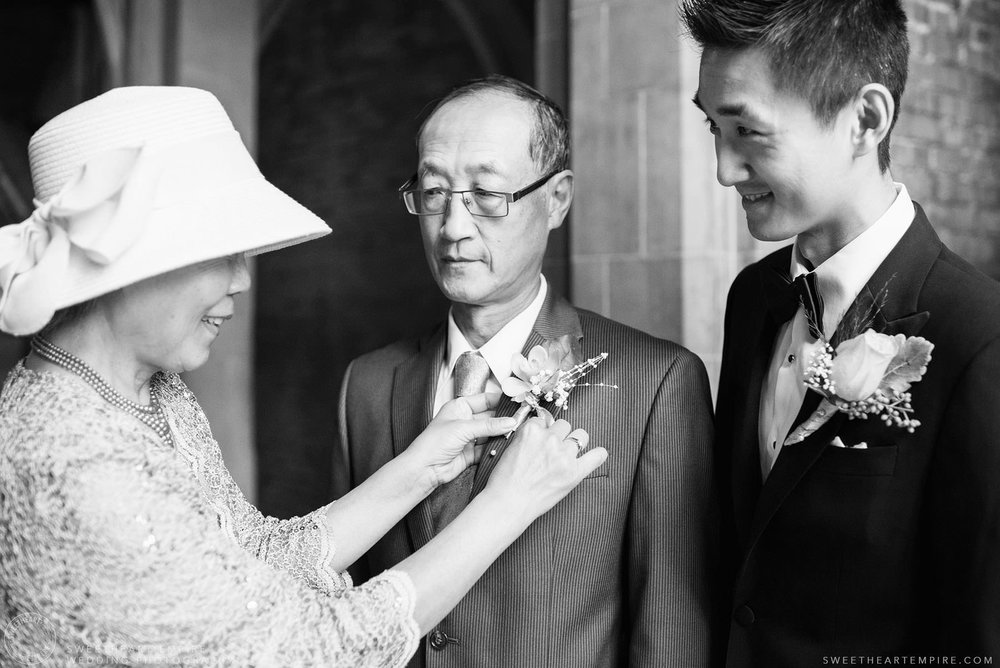 Groom and his parents, Hart House University of Toronto Wedding