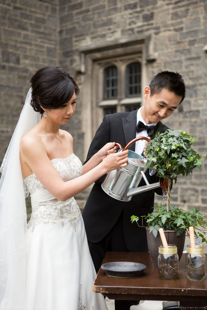 Bride and groom planting a tree together during marriage ceremony, Hart House University of Toronto Wedding