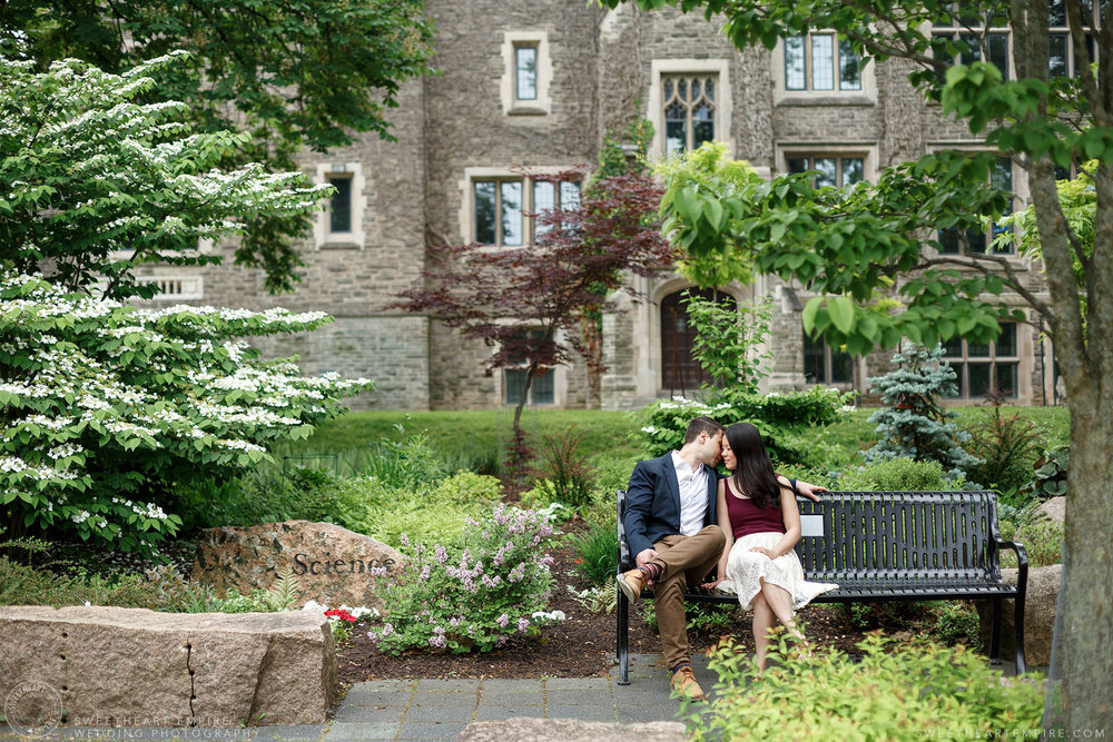 Couple kissing in the gardens at McMaster University, McMaster University Engagement Session