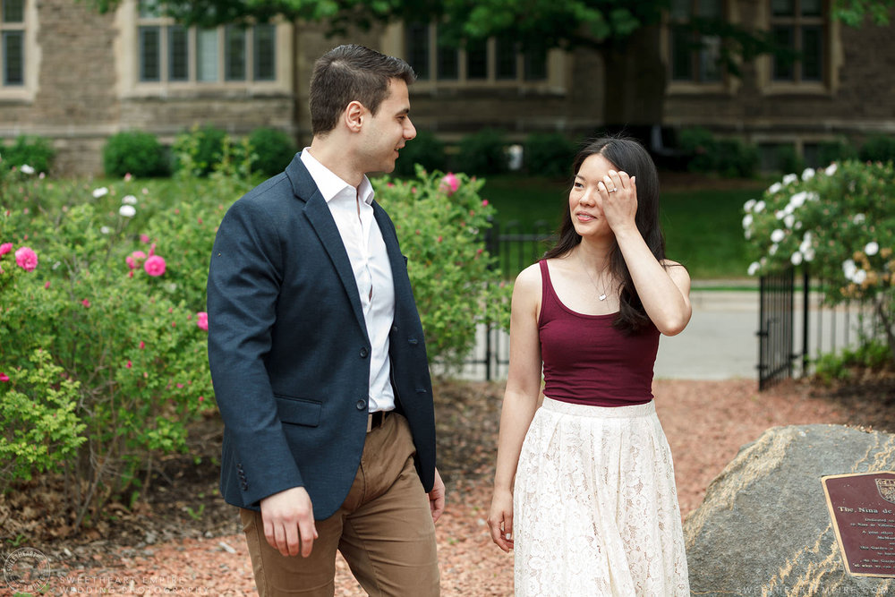 Couple walking through the grounds of McMaster University, McMaster University Engagement Session