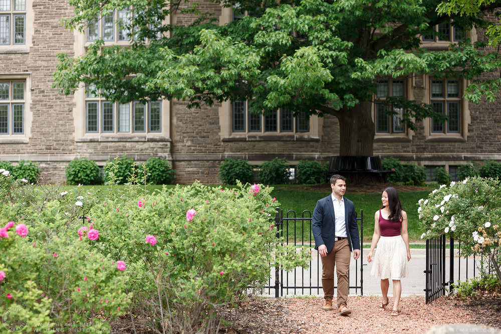 Couple holding hands, McMaster University Engagement Session