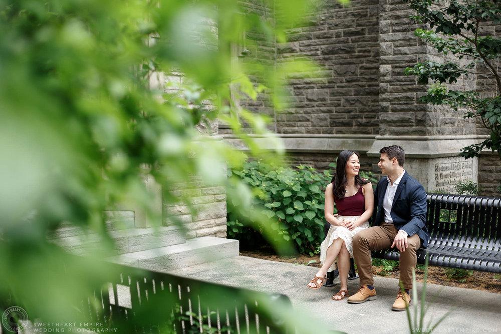 Couple sitting together on the McMaster University Grounds, McMaster University Engagement Session