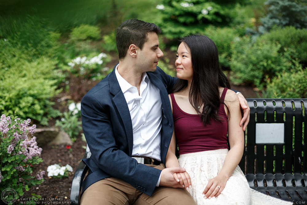 Couple shares a loving look, McMaster University Engagement Session
