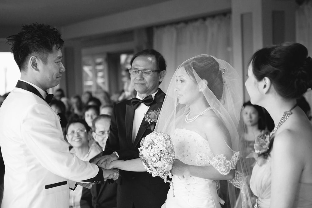 Bride's father giving her away, Bayview Golf and Country Club Wedding