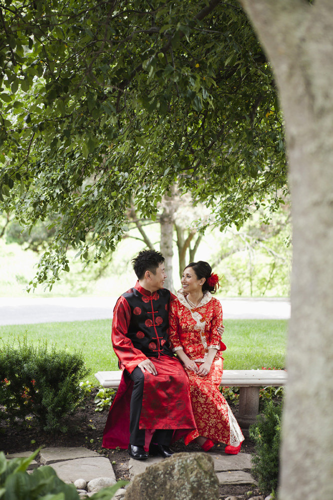 Bride and groom wearing traditional Chinese wedding clothes, Bayview Golf and Country Club Wedding