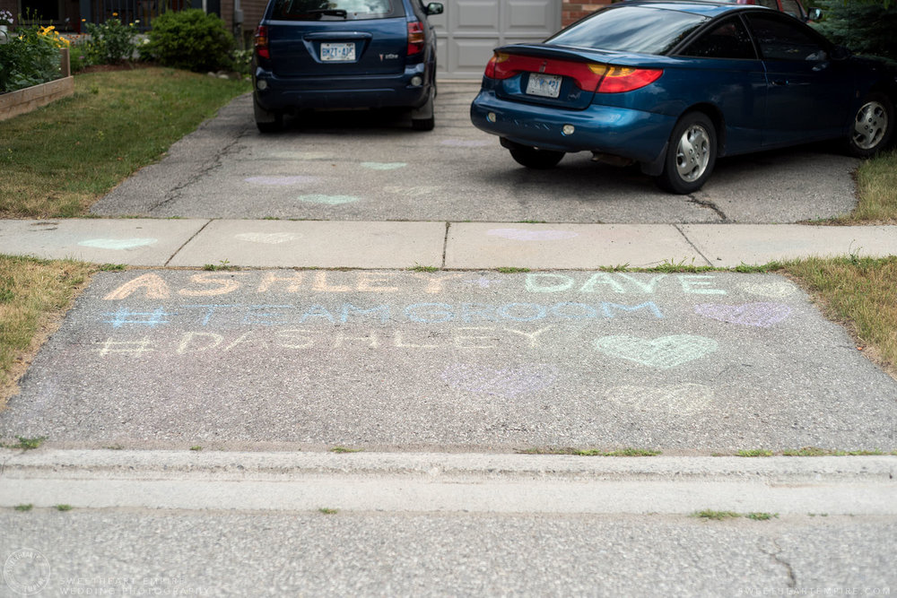 Sidewalk chalk message of love; Aberfoyle Mill Wedding